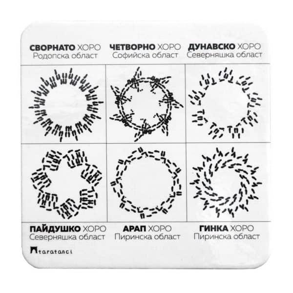 бяла подложки за чаши с формата на шестте хора