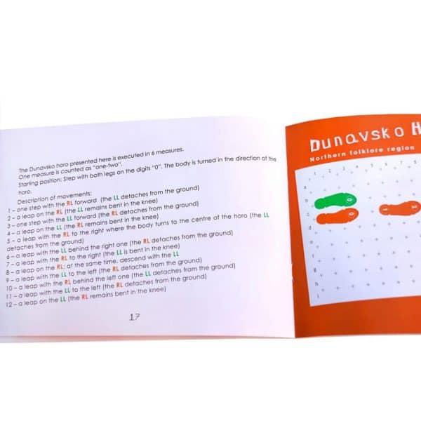 Книжка самоучител с български народни хора от Таратанци - страница с Дунавско хоро английска версия