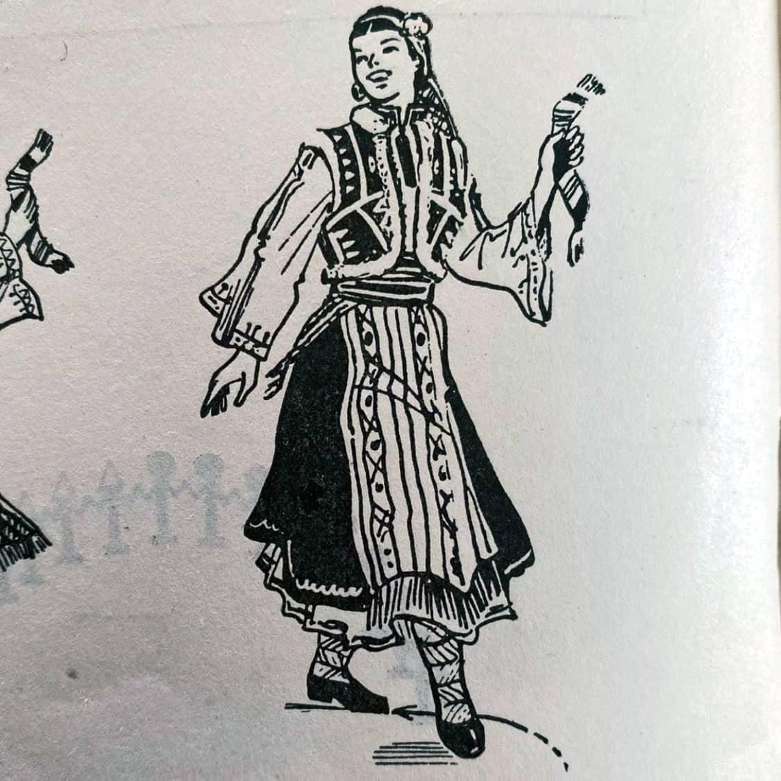илюстрация Дайчово хоро странична крачка и крачка зад крак