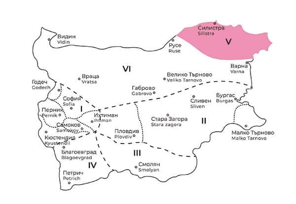 карта на Добруджанска фолклорна област в България