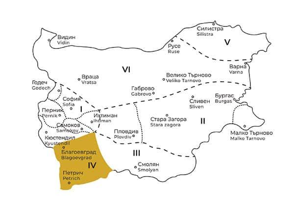 карта на Пиринска фолклорна област в България
