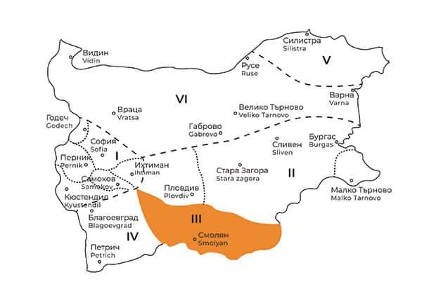 карта на Родопска фолклорна област в България