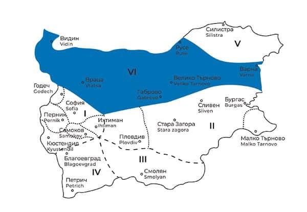 карта на Северняшка фолклорна област в България