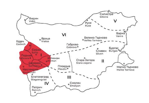 карта на Шопска фолклорна област в България
