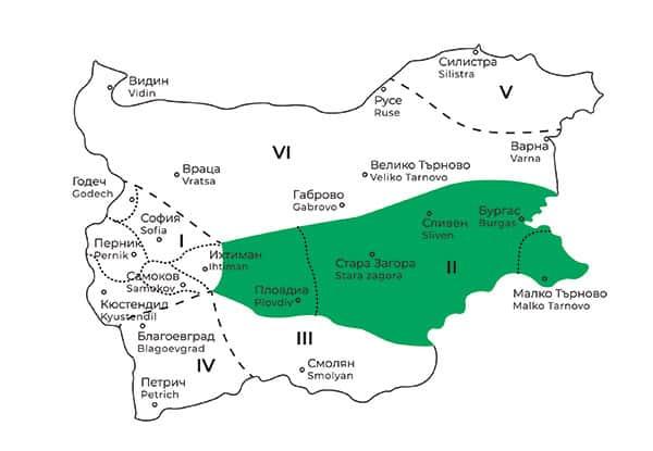 карта на Тракийска фолклорна област в България