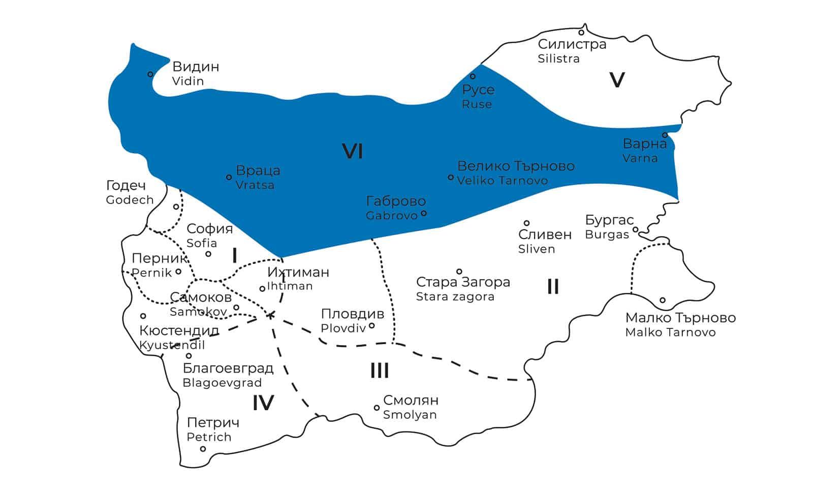 карта на северняшката фолклорна област в България