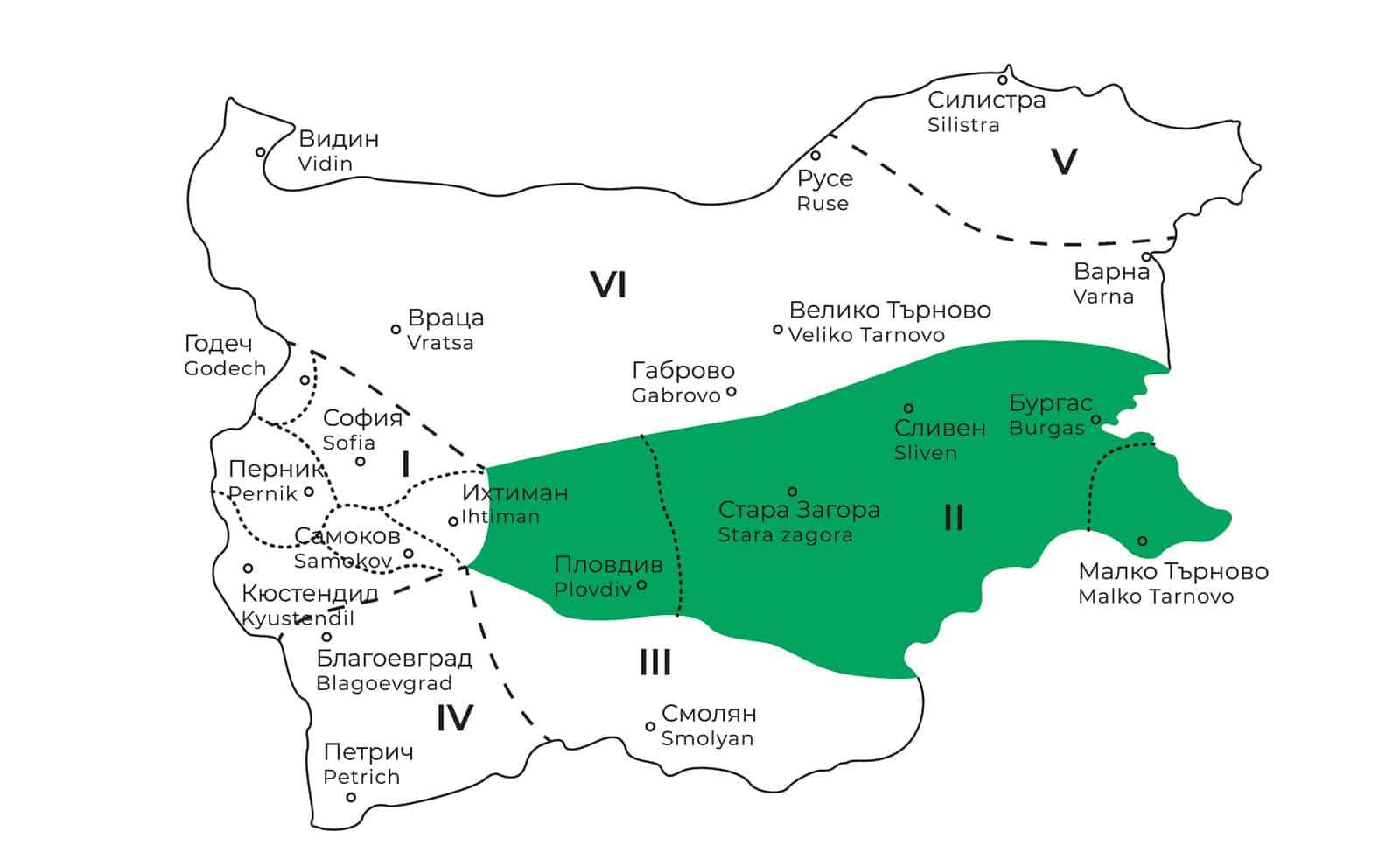 карта на тракийската фолклорна област в България