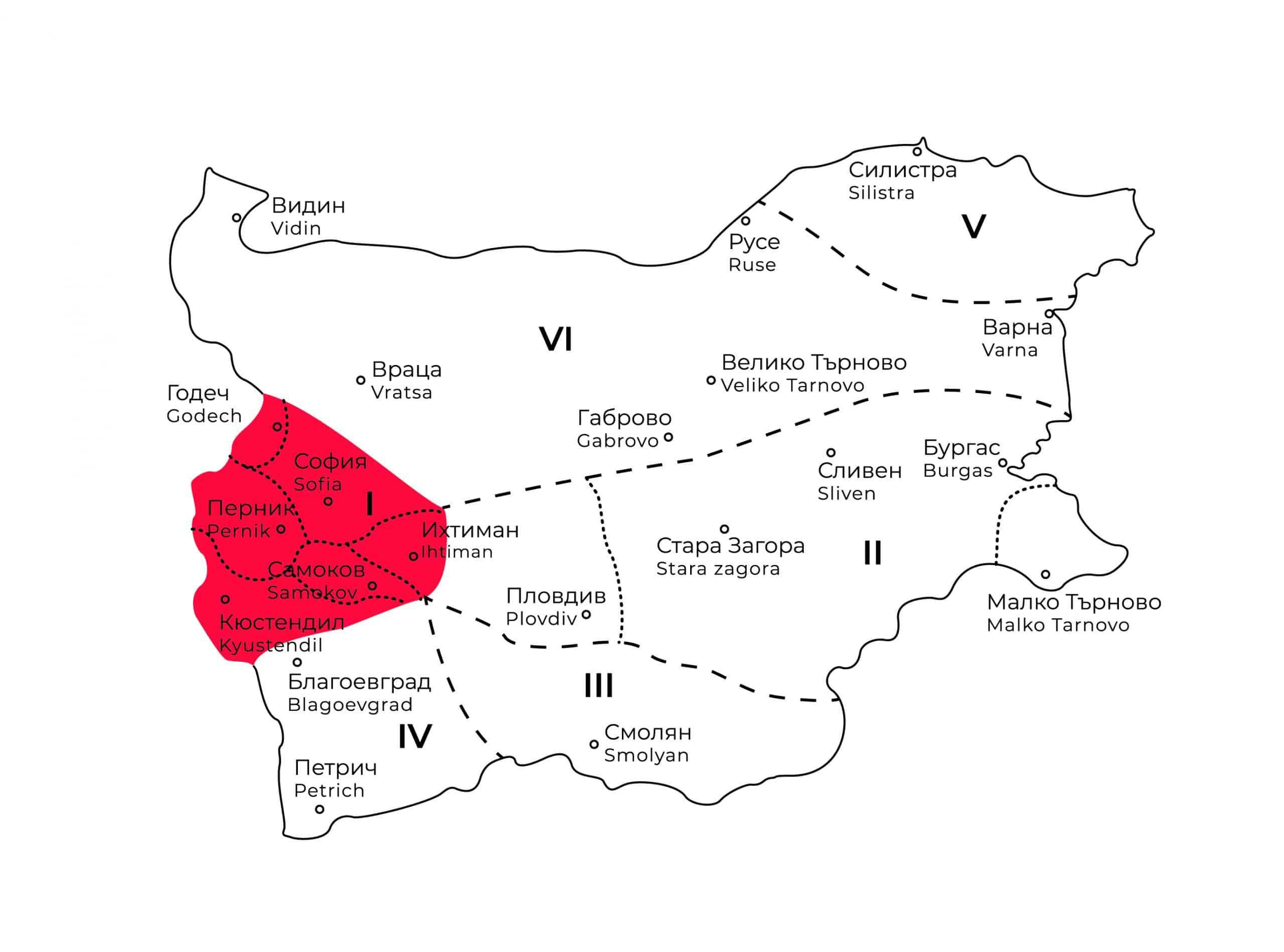 карта на шопската фолклорна област в България