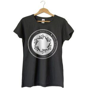 Дамска тениска в цвят графитено сиво с бял принт и хоро Граовско