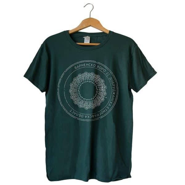 Мъжка тениска Light в цвят горско зелено с бял принт и хоро Варненско